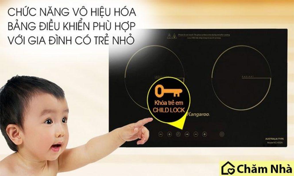 tính năng khóa trẻ em của bếp kangaroo kg499n
