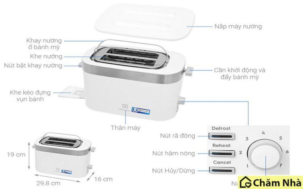 cấu tạo của máy nướng bánh mì electrolux e2ts1 100w